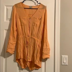 Long sleeve flamingo colored romper (worn once)